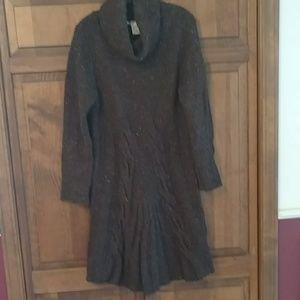 Brown verigated wool blend sweater dress.